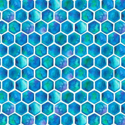 Blue Hexagons-Elena O'Neill-Art Print