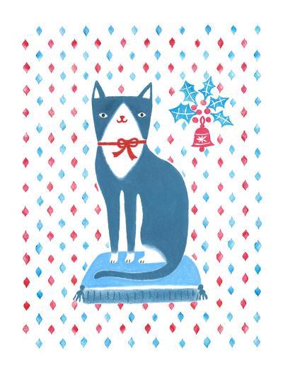 Blue Holiday Cat-Advocate Art-Art Print