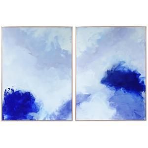 """Blue Hues 1&2"" on Reverse Printed Art Glass and Anodized Aluminum Rose Gold Frame Wall Art"
