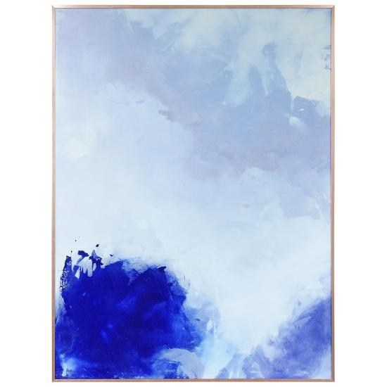 Blue Hues 1 - on Reverse Printed Art Glass and Anodized Aluminum Rose Gold Frame Wall Art--Alternative Wall Decor