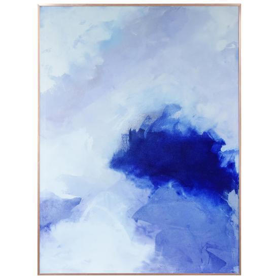 Blue Hues 2 - on Reverse Printed Art Glass and Anodized Aluminum Rose Gold Frame Wall Art--Alternative Wall Decor