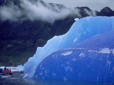 Blue Iceberg, San Rahael Glacier, Chilean Fjords, Chile, South America-Pete Oxford-Photographic Print