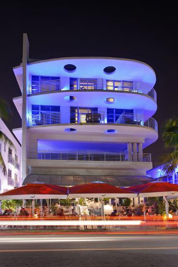 Blue Illuminated Hotel at Night, Ocean Drive, Miami South Beach, Art Deco District, Florida, Usa-Axel Schmies-Photographic Print
