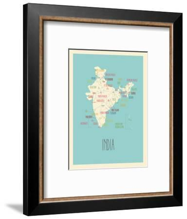 Blue India Map-Kindred Sol Collective-Framed Art Print