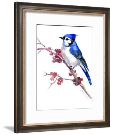 Blue Jay And Berries-Suren Nersisyan-Framed Art Print