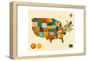 United States Typographic Map by Blue Jazzberry