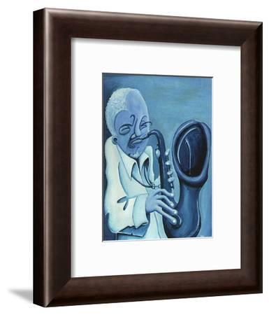 Blue Jazzman II-Patrick Daughton-Framed Art Print