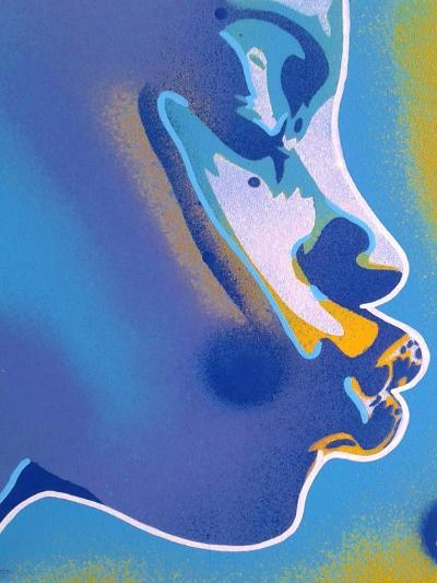 Blue Kiss-Abstract Graffiti-Giclee Print
