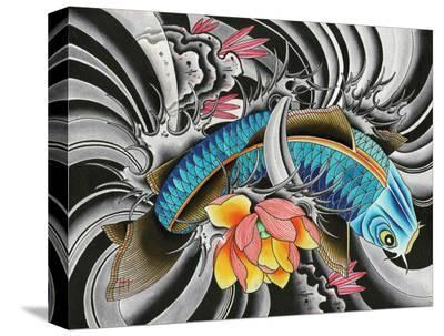 Blue Koi- English (Artist)-Stretched Canvas Print