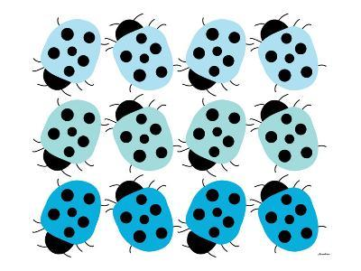Blue Lady Bug Family-Avalisa-Art Print