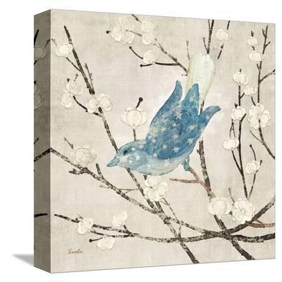 Blue Linen Bird--Stretched Canvas Print