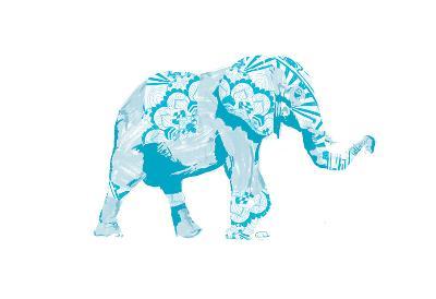Blue Mandala Elephant-OnRei-Art Print