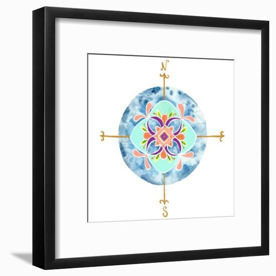 Blue Mandala II-Rebekah Ewer-Framed Art Print