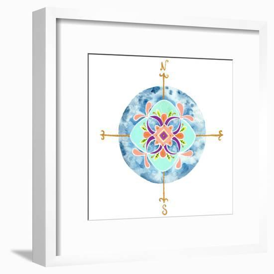 Blue Mandala II-Rebekah Ewer-Framed Art Print