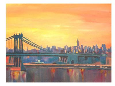 Blue Manhattan Skyline With Bridge And Vanilla Sky 2-M Bleichner-Art Print