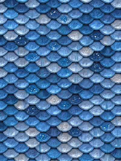 Blue Mermaid Glitter Scales-Grab My Art-Art Print