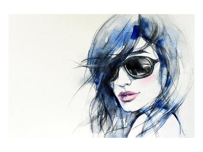 Blue Mode Fashion Illustration--Art Print