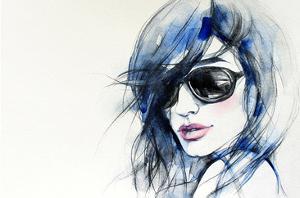 Blue Mode Fashion Illustration