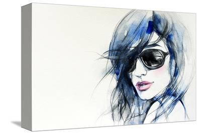 Blue Mode Fashion Illustration--Stretched Canvas Print