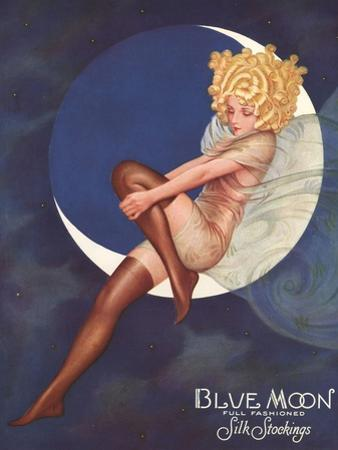 Blue Moon Silk stockings, Womens Glamour Pin-Ups Nylons Hosiery, USA, 1920