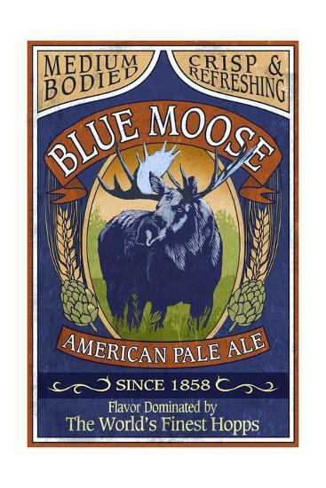 Blue Moose Pale Ale - Vintage Sign-Lantern Press-Art Print