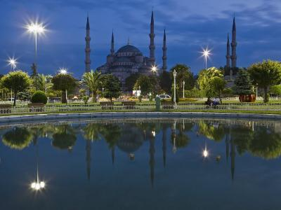 Blue Mosque in Evening, Reflected in Pond, Sultanahmet Square, Istanbul, Turkey, Europe-Martin Child-Photographic Print