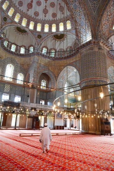 Blue Mosque Interior, UNESCO World Heritage Site, Mullah in Foreground, Istanbul, Turkey, Europe-James Strachan-Photographic Print