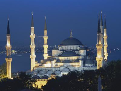 Blue Mosque (Sultan Ahmet Mosque) at Night, Istanbul, Turkey-Lee Frost-Photographic Print
