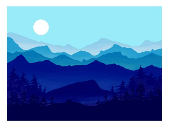 Blue Mountains, Evergreens and the Blue Moon-Rich LaPenna-Giclee Print
