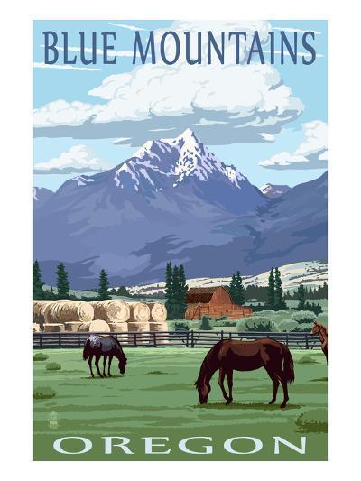 Blue Mountains Scene - Oregon-Lantern Press-Art Print