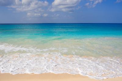 Blue Ocean and White Water Crashing on the Sand.-Alberto Guglielmi-Photographic Print