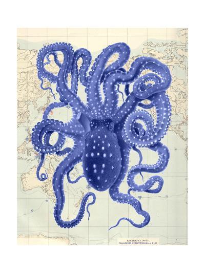 Blue Octopus 2 on Nautical Map-Fab Funky-Art Print