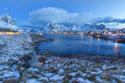 Blue of Dusk Dominates the Scenery in Reine, Lofoten Islands, Arctic, Norway, Scandinavia-Roberto Moiola-Photographic Print