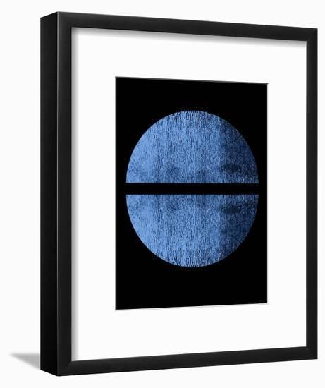 Blue on Black Half Circles-Eline Isaksen-Framed Art Print