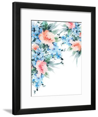 Blue Orange Blossom Bouquet Watercolor-Victoria Nelson-Framed Art Print