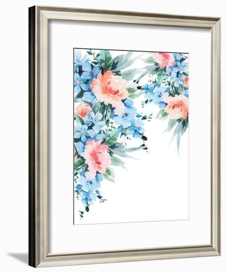 Blue Orange Blossom Bouquet Watercolor-Victoria Nelson-Framed Art Print