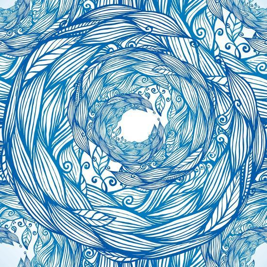Blue Ornate Doodle Foliage Circle Seamless Pattern-Elena Solovova-Photographic Print