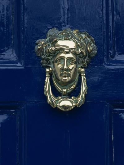 Blue Painted Door and Knocker in the Centre of the City of Dublin, Eire, Europe-Gavin Hellier-Photographic Print