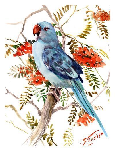Blue Parakeet-Suren Nersisyan-Art Print
