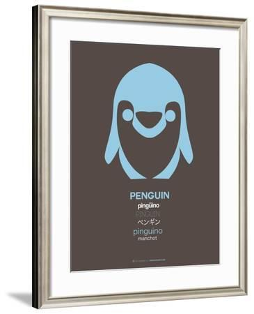 Blue Pinguin Multilingual Poster-NaxArt-Framed Art Print