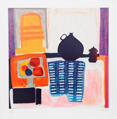 Blue Pitcher on Tablecloth-Wendy Chazin-Limited Edition
