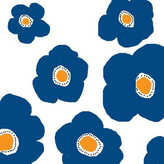 Blue Pop Flowers-Jan Weiss-Art Print