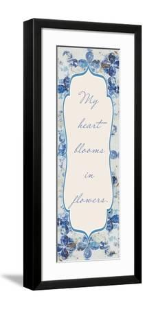 Blue Quadrefoil With Words II-Patricia Pinto-Framed Art Print