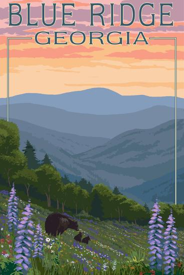 Blue Ridge Georgia - Bear Family and Spring Flowers-Lantern Press-Art Print