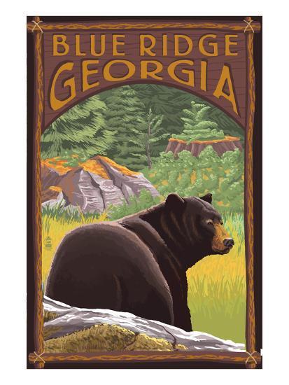 Blue Ridge, Georgia - Bear in Forest-Lantern Press-Art Print