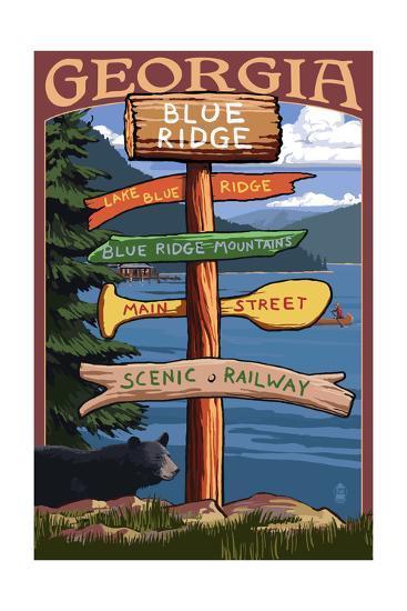 Blue Ridge, Georgia - Destination Signpost-Lantern Press-Art Print