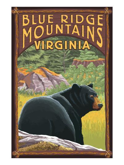 Blue Ridge Mountains, Virginia - Bear in Forest-Lantern Press-Art Print