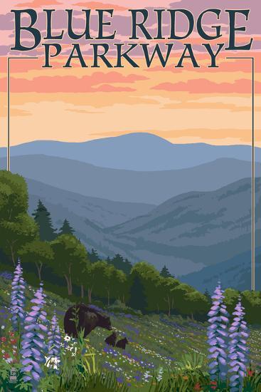 Blue Ridge Parkway - Bear Family and Spring Flowers-Lantern Press-Art Print