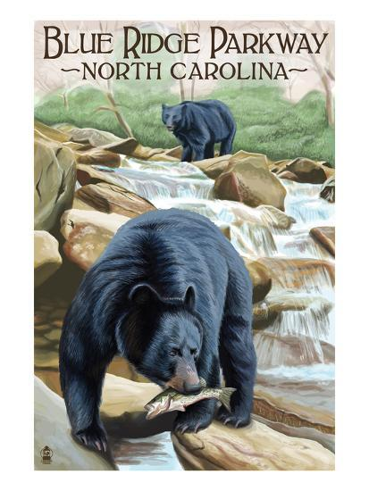 Blue Ridge Parkway, North Carolina - Black Bears Fishing-Lantern Press-Art Print