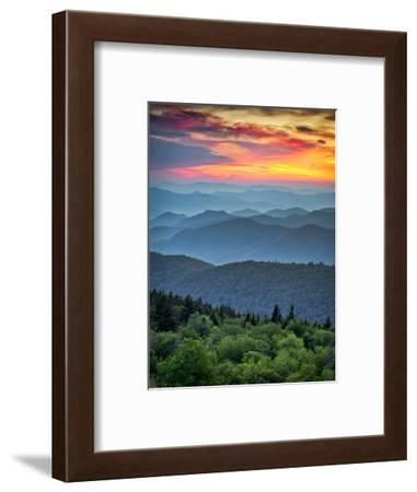 Blue Ridge Parkway Scenic Landscape Appalachian Mountains Ridges Sunset Layers over Great Smoky Mou-Dave Allen Photography-Framed Photographic Print